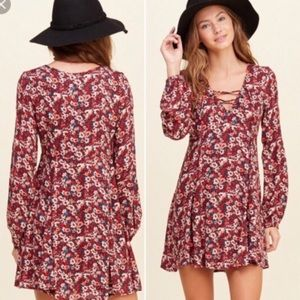 Hollister midi long sleeve floral dress